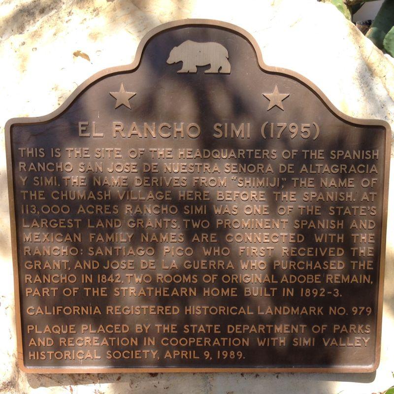 NO. 979 RANCHO SIMI - State Plaque