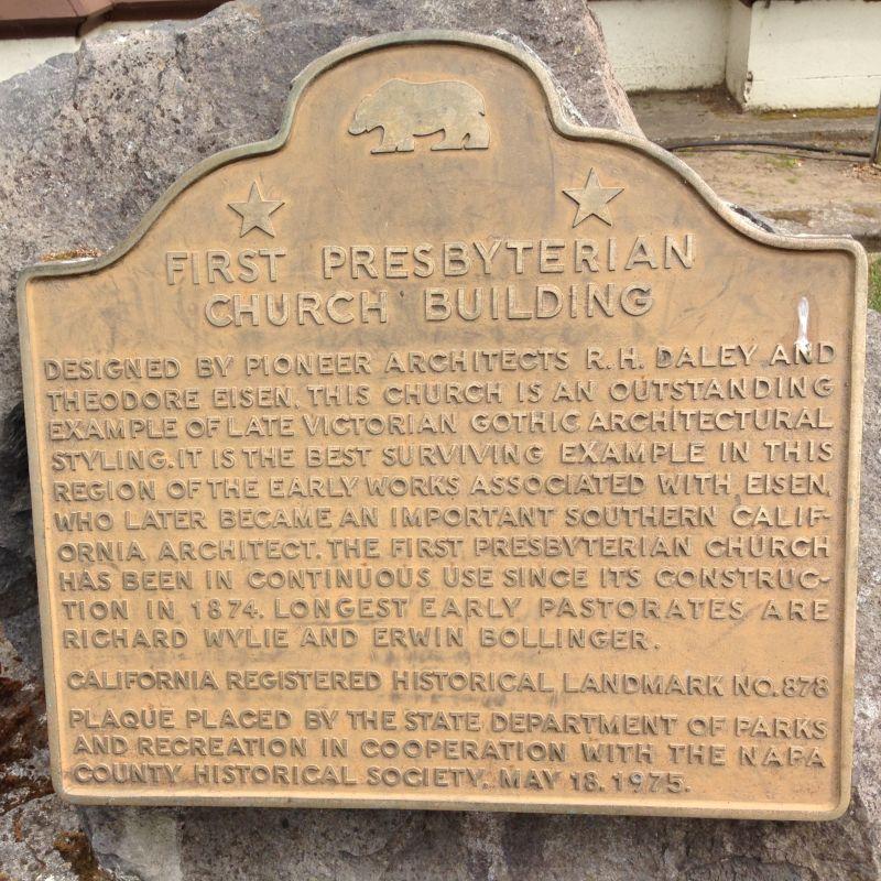 NO. 878 FIRST PRESBYTERIAN CHURCH BUILDING - State Plaque