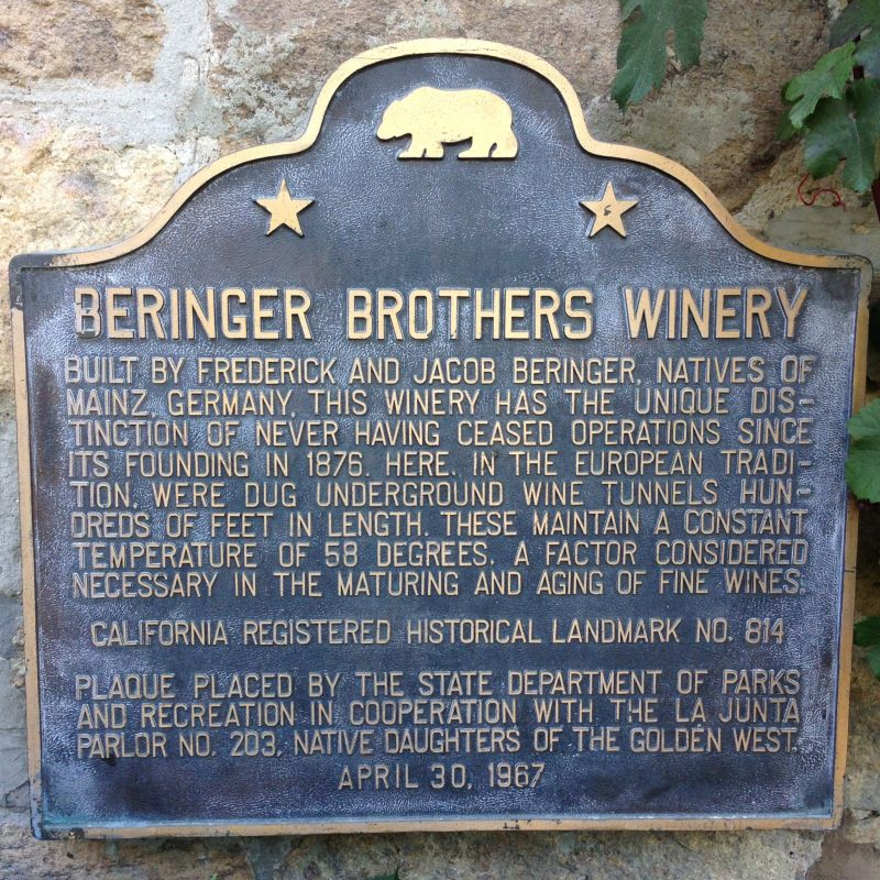 NO. 814 BERINGER BROTHERS WINERY - State Plaque