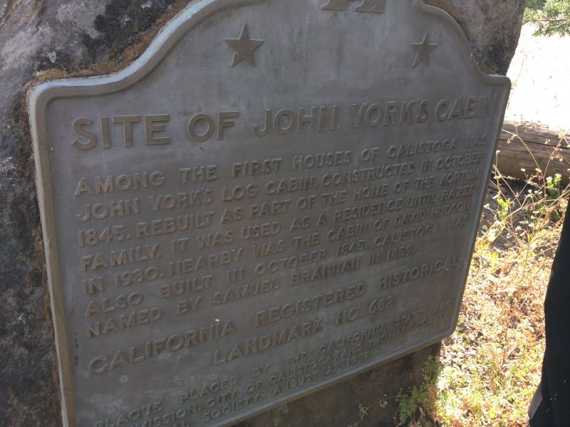 NO. 682 SITE OF YORK'S CABIN, CALISTOGA - State Plaque