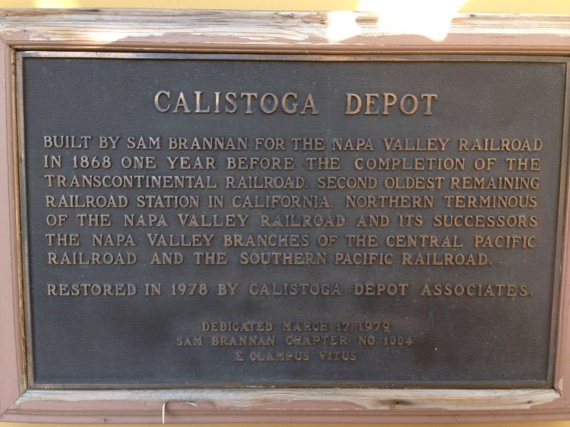 NO. 687 NAPA VALLEY RAILROAD DEPOT, CALISTOGA - Plaque