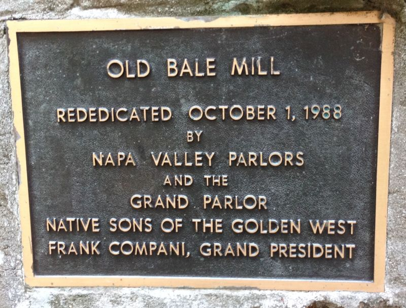 NO. 359 OLD BALE GRIST MILL - Plaque