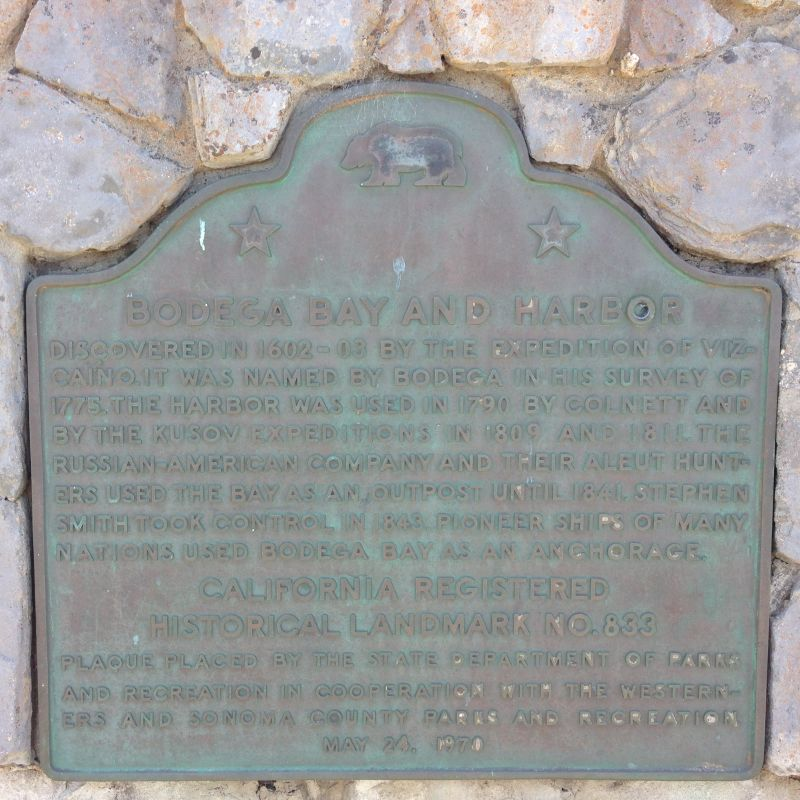 NO. 833 BODEGA BAY AND HARBOR - Plaque