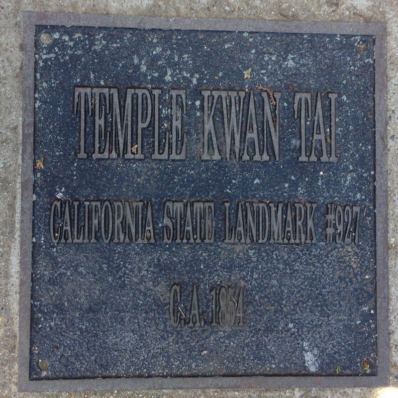 NO. 927 TEMPLE OF KWAN TAI - Private Plaque