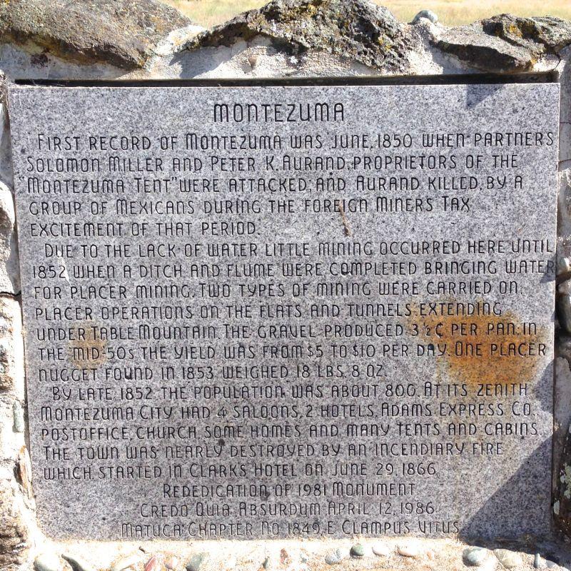NO. 122 MONTEZUMA -  Plaque
