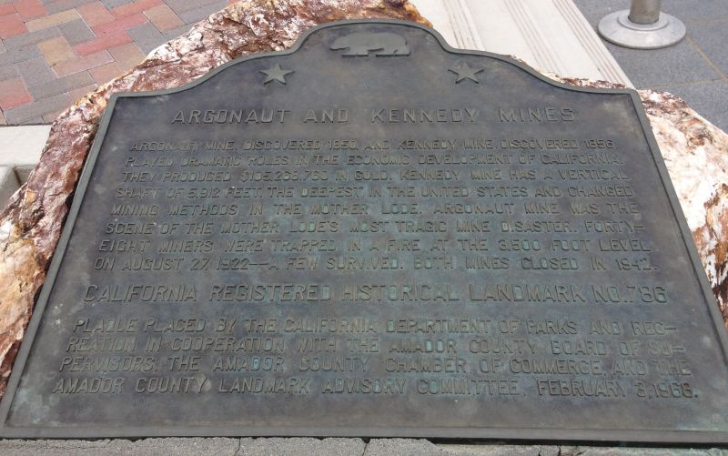 NO. 786 ARGONAUT AND KENNEDY MINES - State Plaque