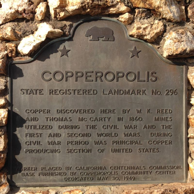 NO. 296 COPPEROPOLIS - State Plaque