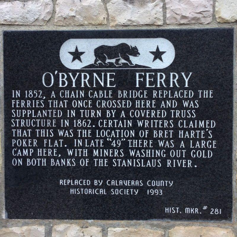 NO. 281 O'BYRNE FERRY - State Plaque