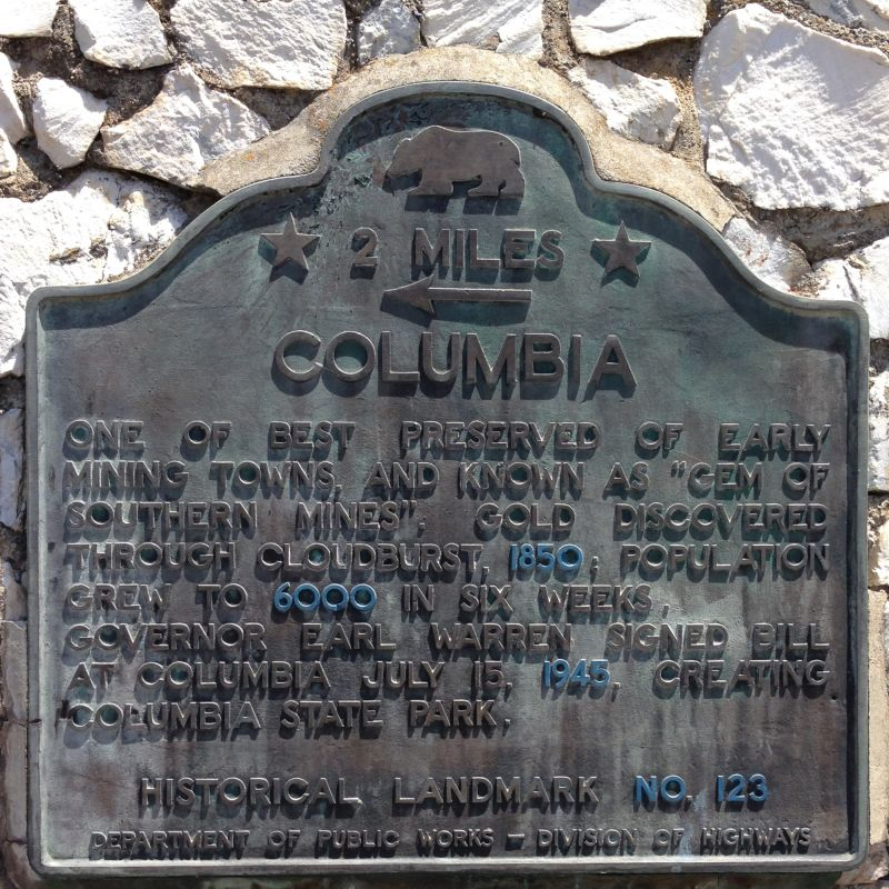 NO. 123 COLUMBIA - State plaque