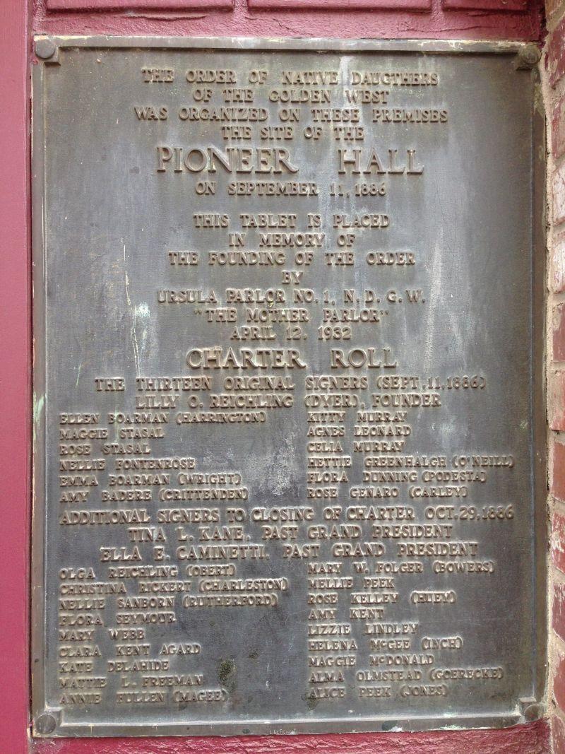 NO. 34 PIONEER HALL - Private Plaque