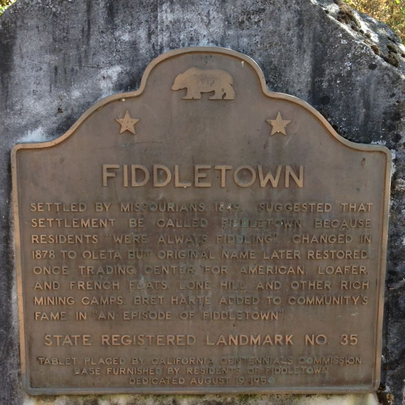 NO. 35 OLETA (OLD FIDDLETOWN) - State Plaque