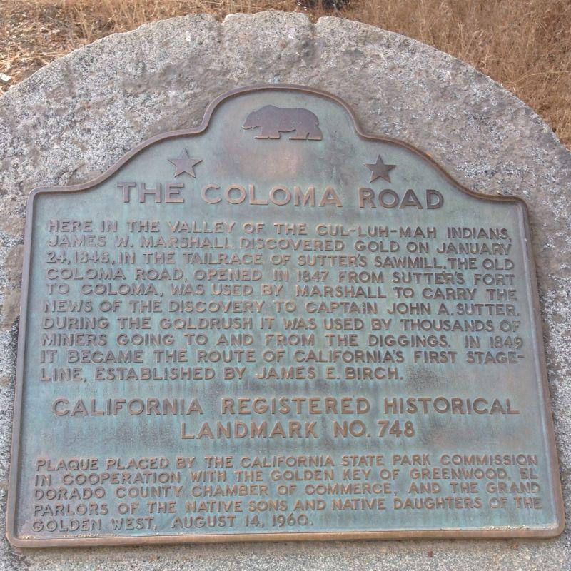 NO. 748 COLOMA ROAD-COLOMA - State Plaque