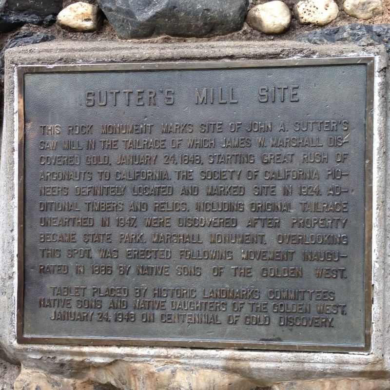 NO. 530 GOLD DISCOVERY SITE - Sutter Mill Plaque