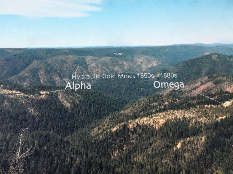 NO. 629 OMEGA HYDRAULIC DIGGINGS AND TOWNSITE - Omega on the right