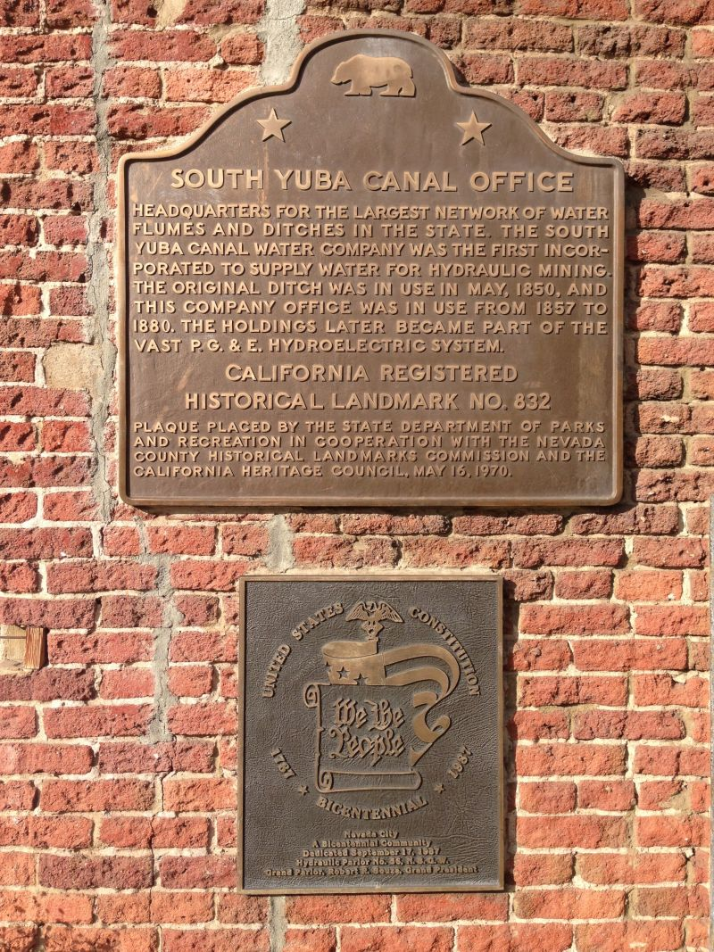 NO. 832 SOUTH YUBA CANAL OFFICE - State Plaque