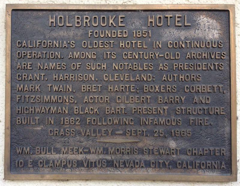 NO. 914 HOLBROOKE HOTEL - Private Plaque