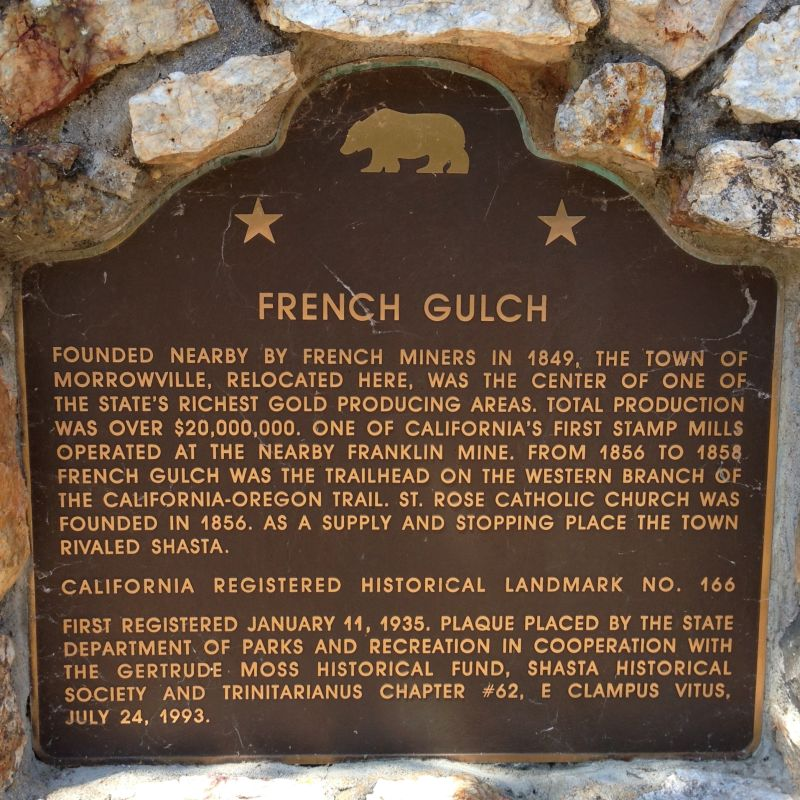 NO. 166 FRENCH GULCH - State Plaque