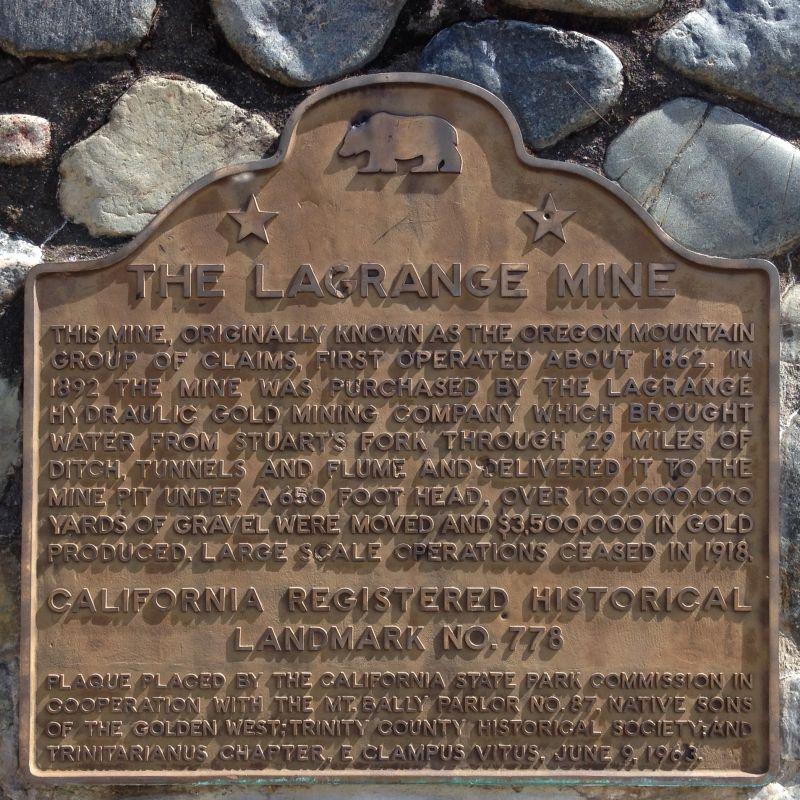 NO. 778 LA GRANGE MINE (HYDRAULIC) - State Plaque