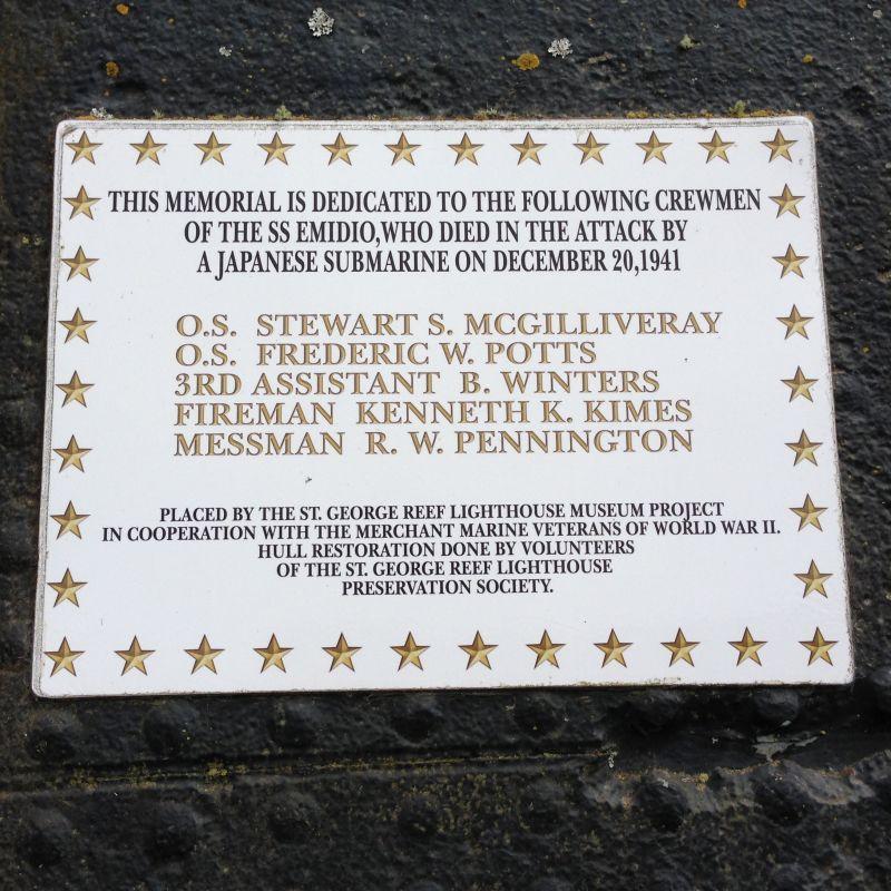 NO. 497 S.S. EMIDIO - Memorial for crewman who were lost