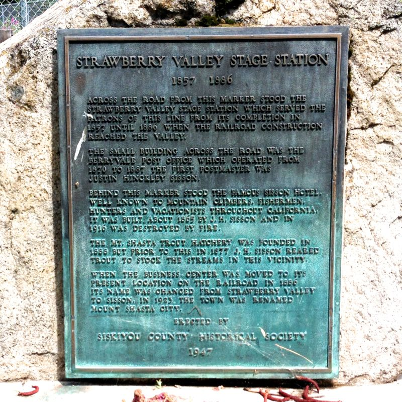 NO. 396 STRAWBERRY VALLEY STAGE STATION - Private Plaque