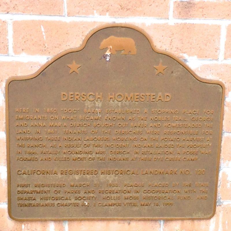 NO. 120 DERSCH HOMESTEAD - State Plaque