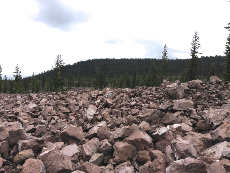 NO. 11 NOBLE PASS ROUTE - Fragments of Lassen Peak on north side of Hwy 89.