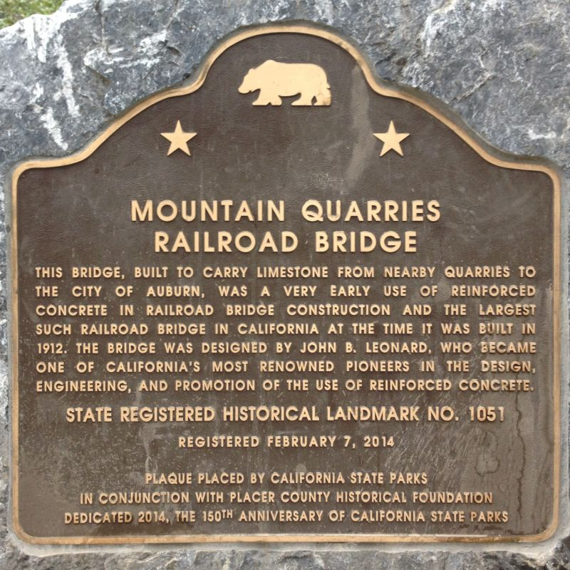 No. 1051 Mountain Quarries Railroad Bridge - State plaque (ElDorado)
