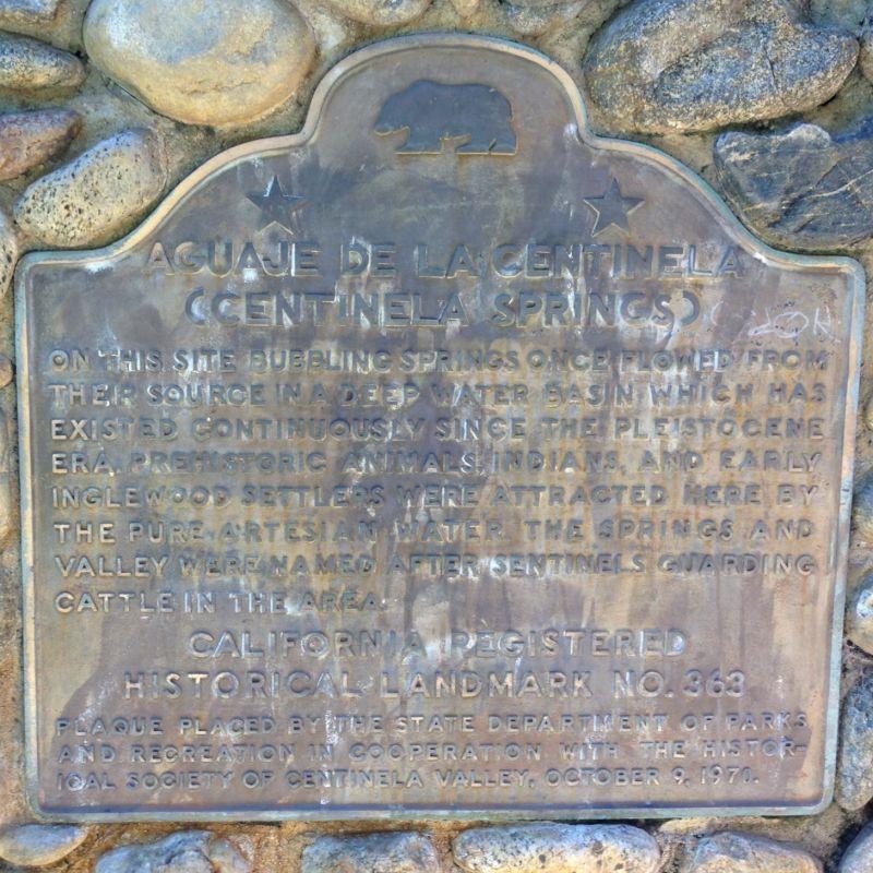 NO. 363 CENTINELA SPRINGS - State Plaque