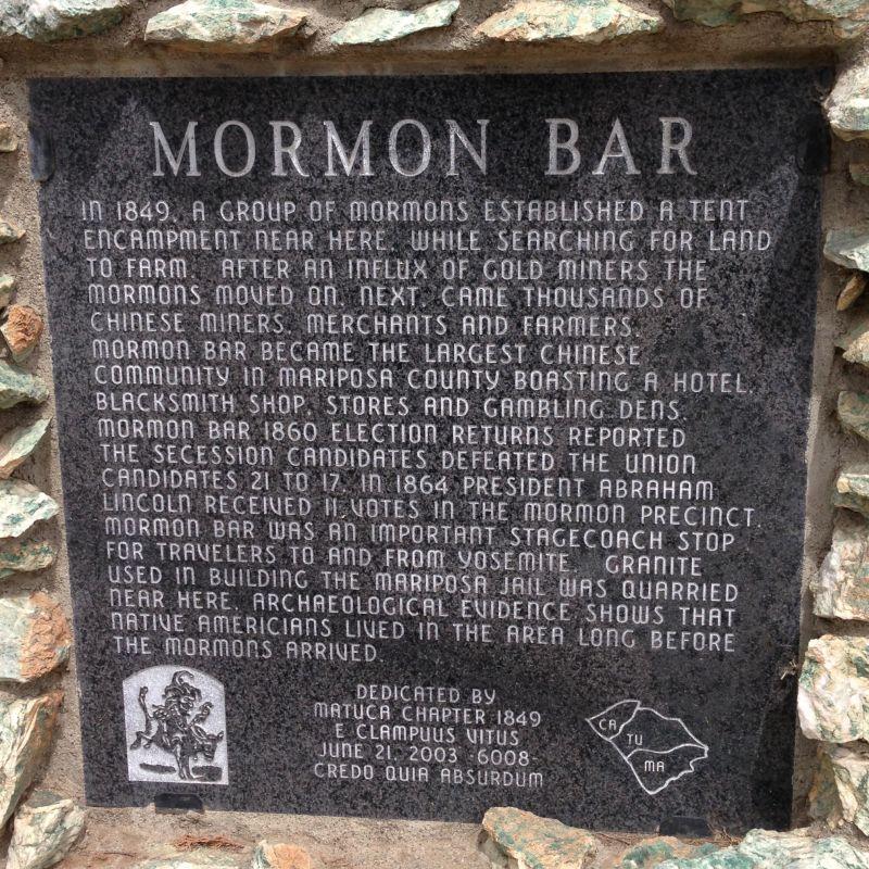 NO. 323 MORMON BAR Plaque
