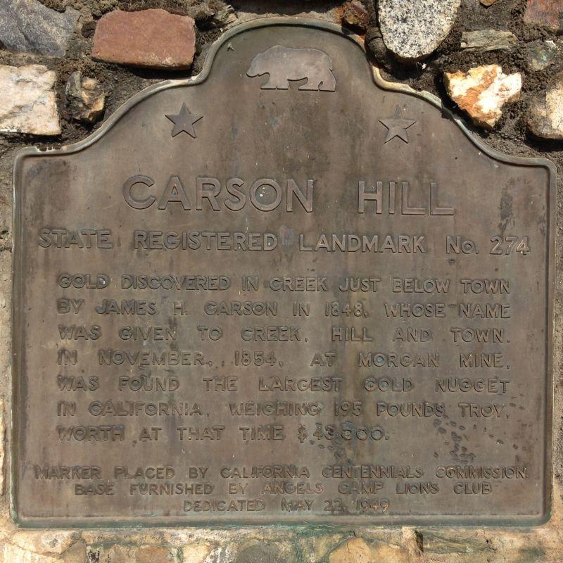 NO. 274 CARSON HILL - State Plaque