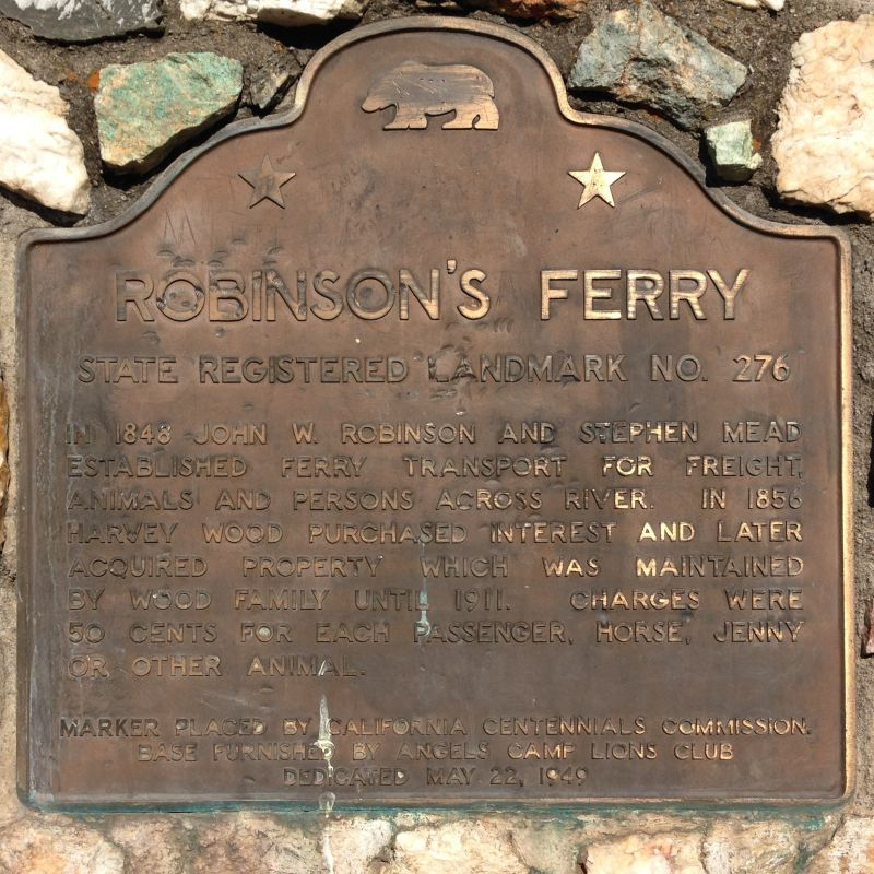 NO. 276 ROBINSON'S FERRY - State Plaque