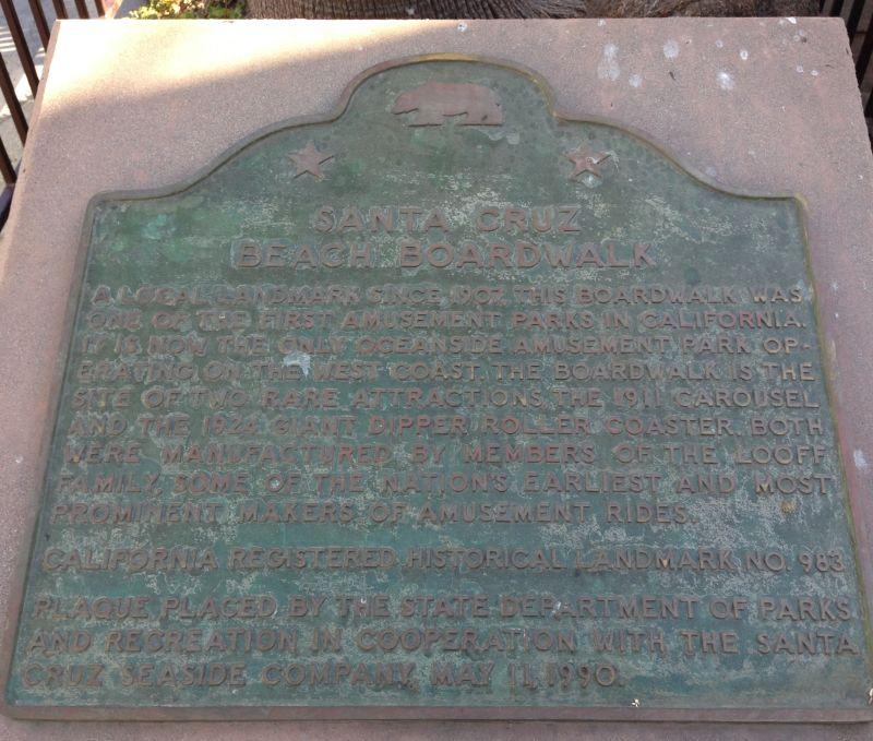 NO. 983 SANTA CRUZ BEACH BOARDWALK - Plaque