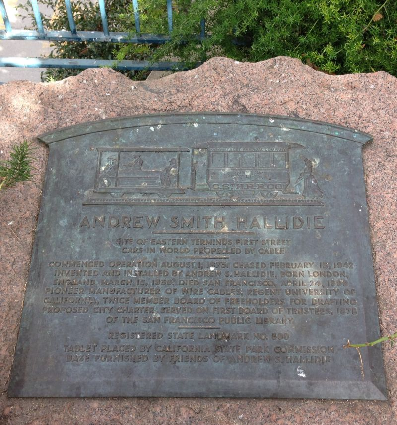 NO. 500 EASTERN TERMINUS OF CLAY STREET HILL RAILROAD - Plaque