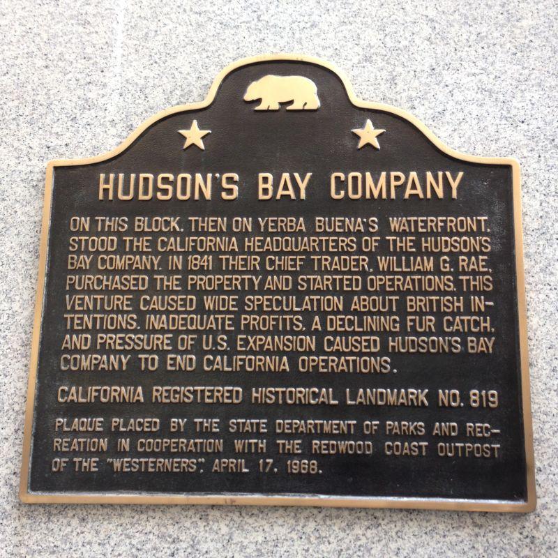 NO. 819 HUDSON'S BAY COMPANY HEADQUARTERS - State Plaque