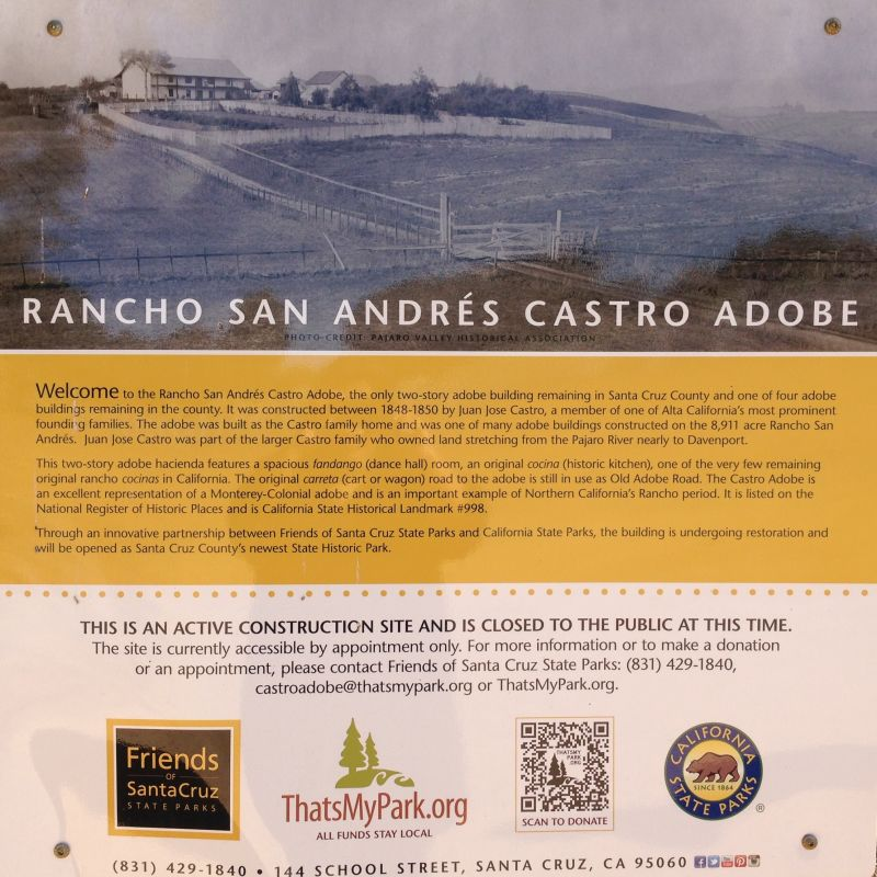 NO. 998 RANCHO SAN ANDRÉS CASTRO ADOBE - Private Plaque