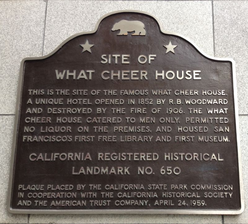 NO. 650 SITE OF THE WHAT CHEER HOUSE - State Plaque