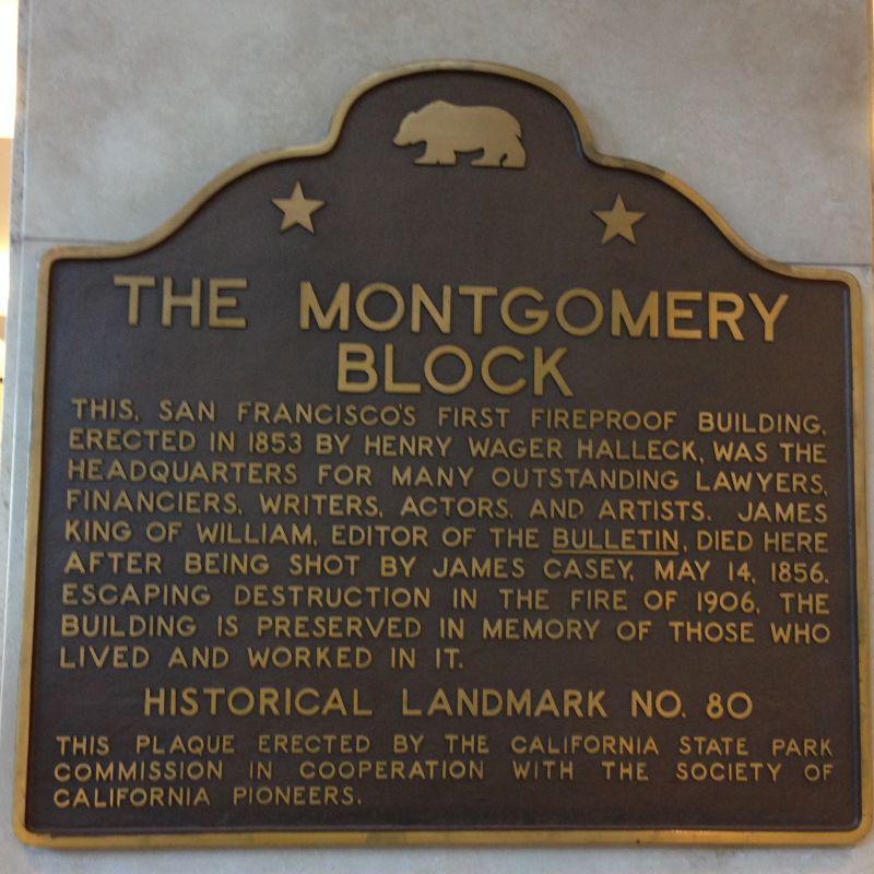 NO. 80 MONTGOMERY BLOCK - State Plaque