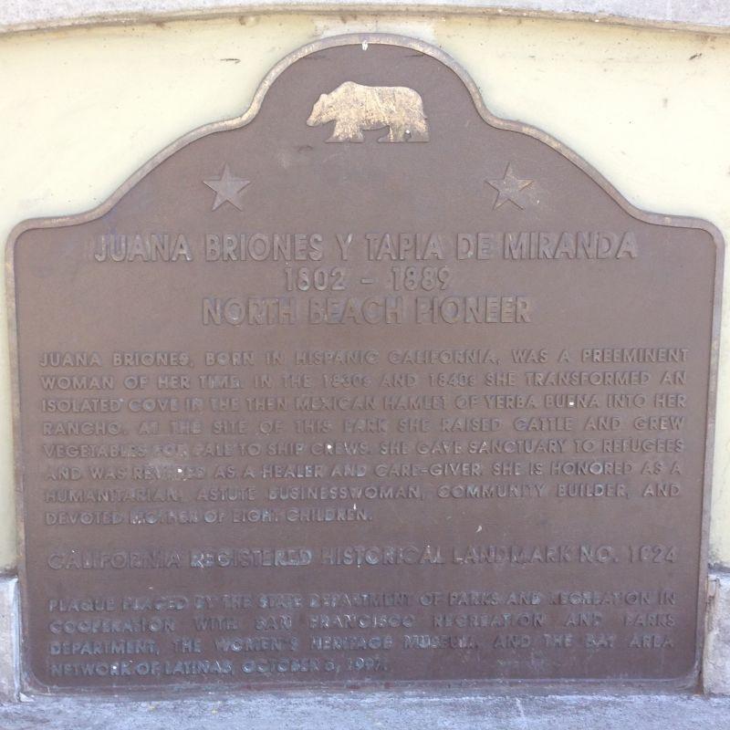 NO. 1024 JUANA BRIONES, PIONEER SETTLER OF YERBA BUENA - State Plaque