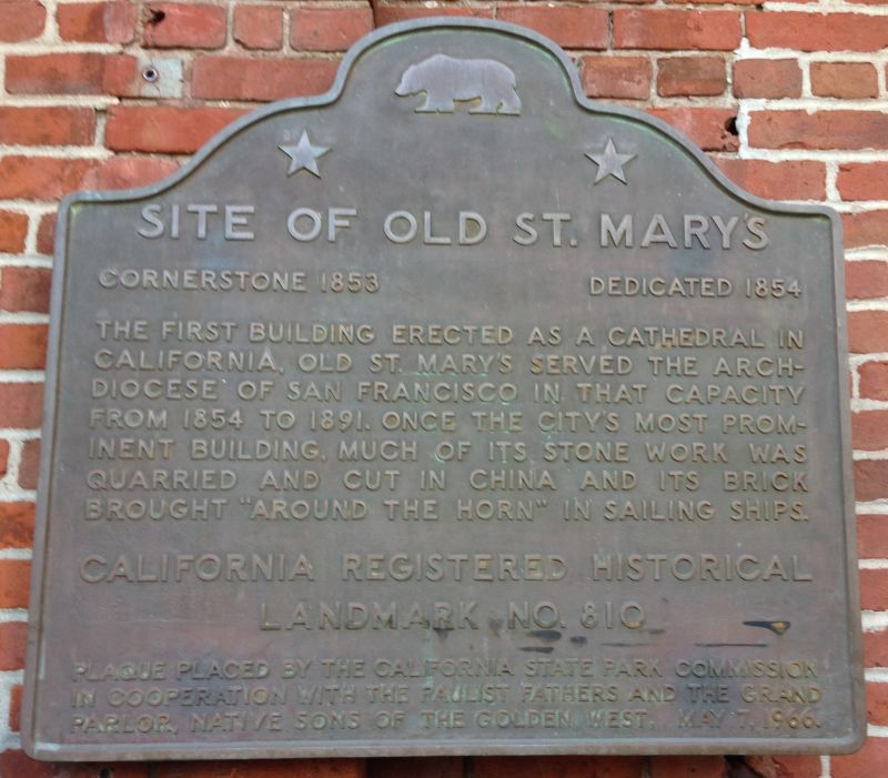NO. 810 SITE OF OLD ST. MARY'S CHURCH - State Plaque