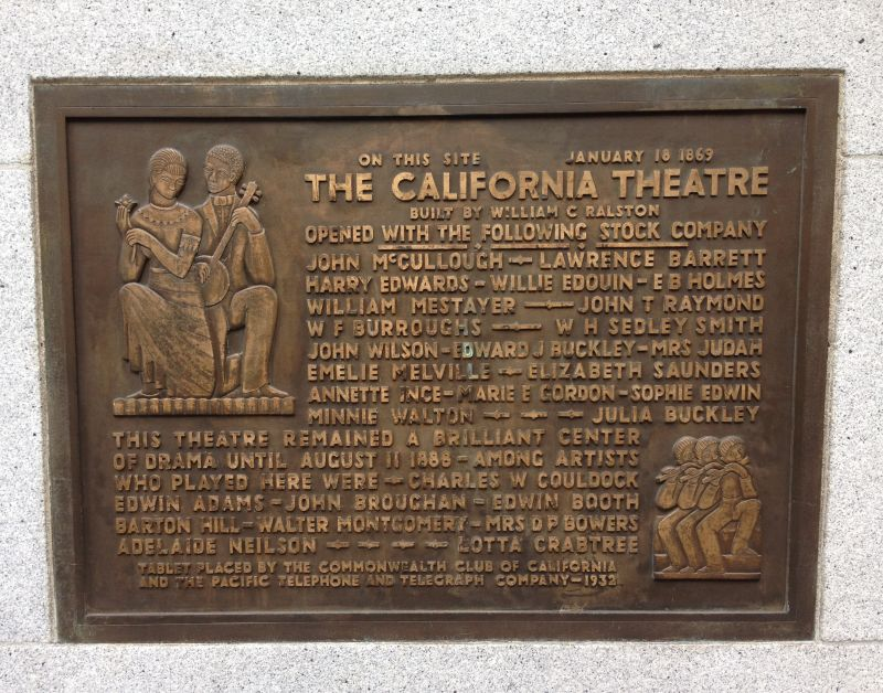 NO. 86 CALIFORNIA THEATRE - Private Plaque