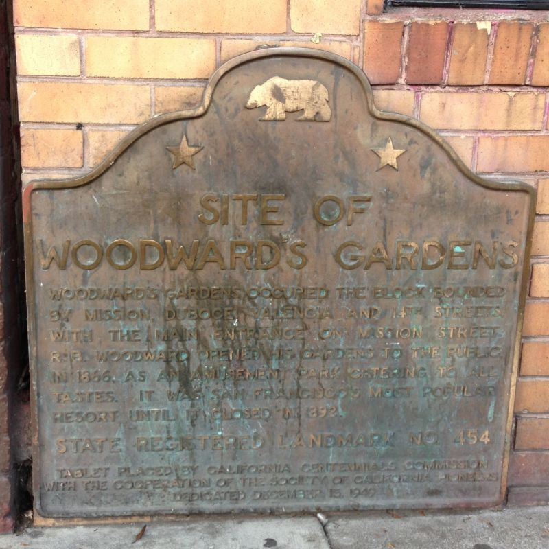 NO. 454 WOODWARD'S GARDENS - State Plaque