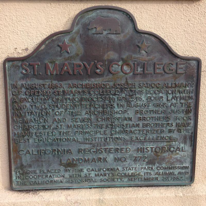 NO. 772 ORIGINAL SITE OF ST. MARY'S COLLEGE - State Plaque
