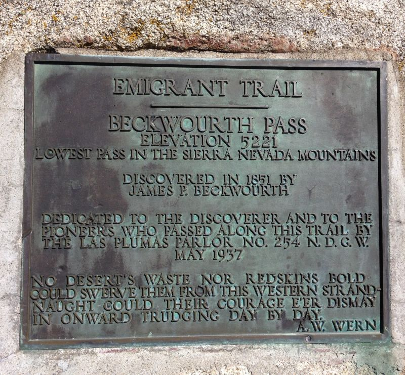 NO. 336 BECKWOURTH PASS - Private Plaque