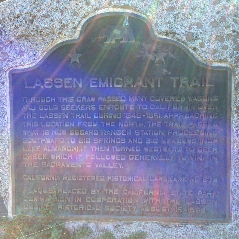 NO. 678 LASSEN EMIGRANT TRAIL - State Plaque