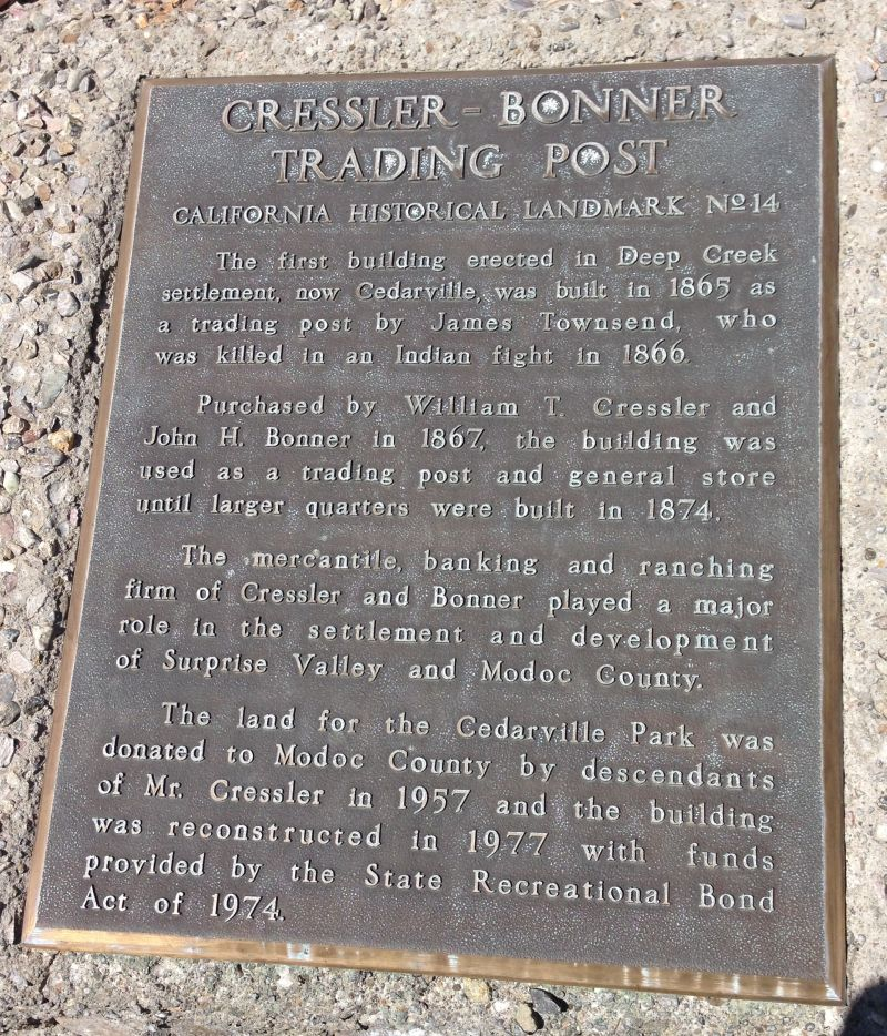 NO. 14 CRESSLER AND BONNER TRADING POST- Private Plaque