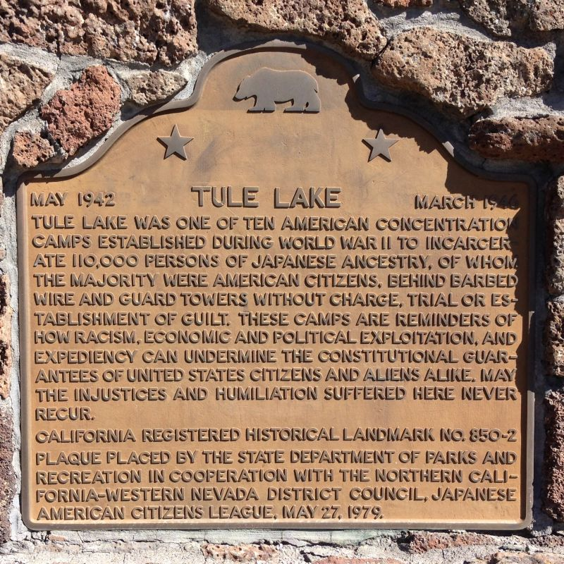 NO. 850-2 TULE LAKE RELOCATION CENTER - State Plaque