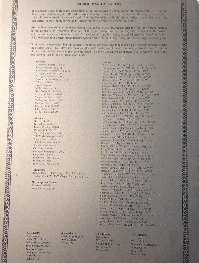NO. 13 GUILLEM'S GRAVEYARD - Modoc War Casualties