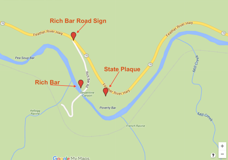 NO. 337 RICH BAR - Map to marker and sign