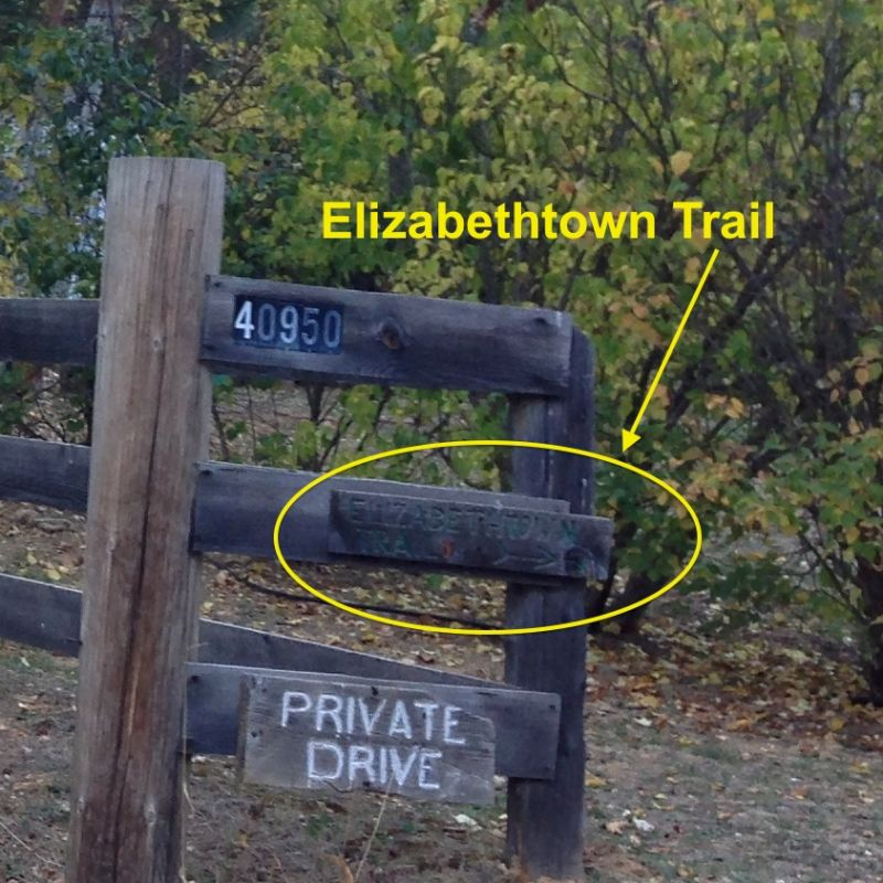 NO. 231 ELIZABETHTOWN - Trail Sign on north west side of the Cul-de-sac.