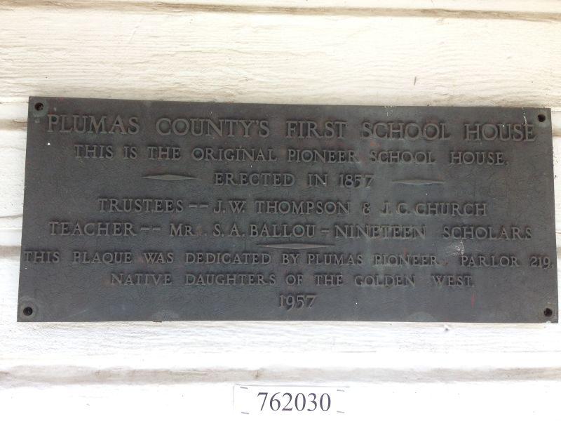 NO. 625 PIONEER SCHOOLHOUSE - Private Plaque
